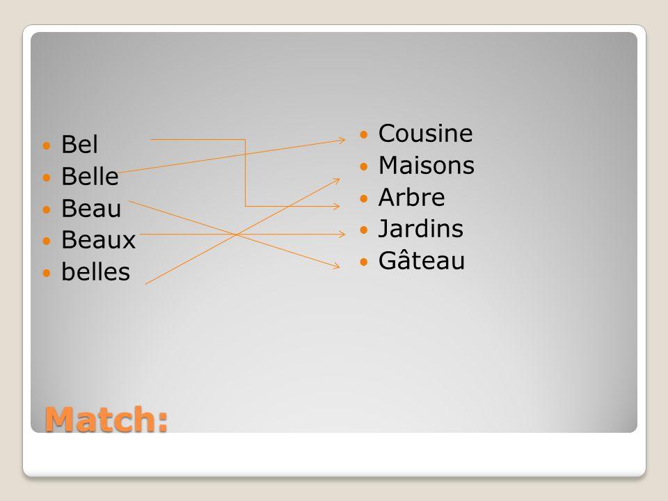 Match: Bel Belle Beau Beaux belles Cousine Maisons Arbre Jardins Gâteau