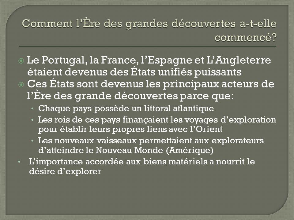 Le Portugal, la France, lEspagne et LAngleterre étaient devenus des États unifiés puissants Ces États sont devenus les principaux acteurs de lÈre des