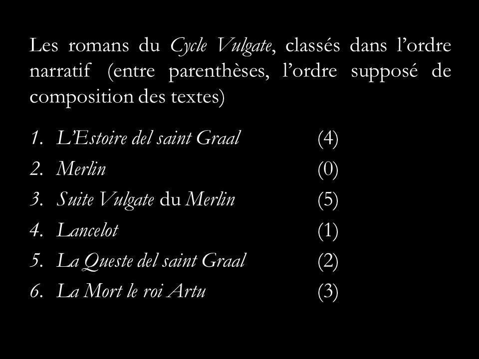 Les romans du Cycle Vulgate, classés dans lordre narratif (entre parenthèses, lordre supposé de composition des textes) 1.LEstoire del saint Graal(4) 2.Merlin(0) 3.Suite Vulgate du Merlin(5) 4.Lancelot(1) 5.La Queste del saint Graal(2) 6.La Mort le roi Artu(3)