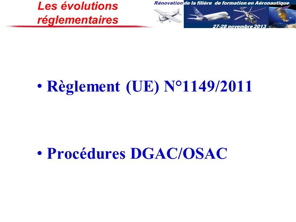Rénovation de la filière de formation en Aéronautique 27-28 novembre 2013 Règlement (UE) N°1149/2011 Procédures DGAC/OSAC Les évolutions réglementaire
