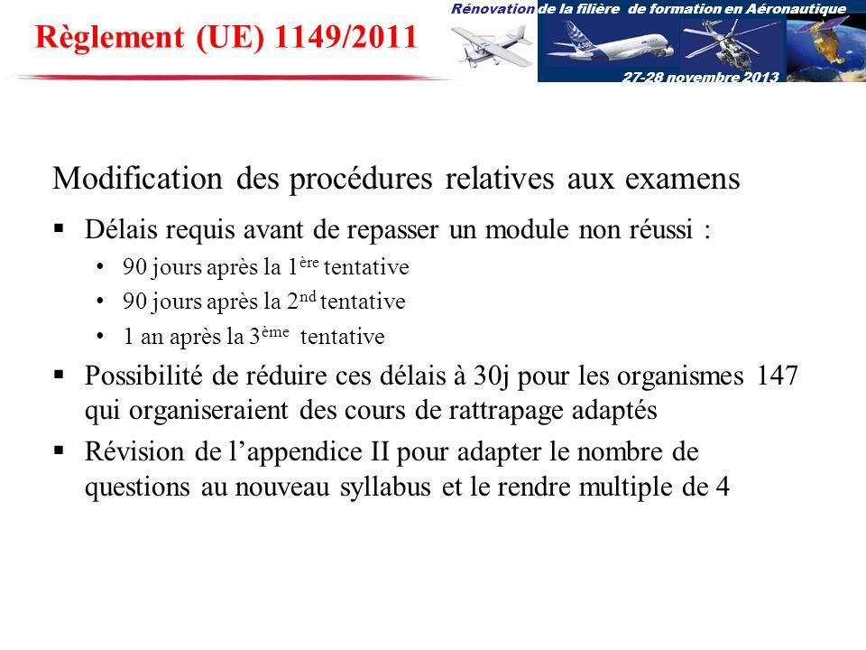 Rénovation de la filière de formation en Aéronautique 27-28 novembre 2013 Modification des procédures relatives aux examens Délais requis avant de rep