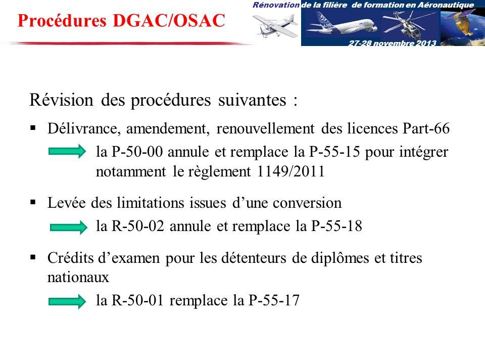 Rénovation de la filière de formation en Aéronautique 27-28 novembre 2013 Procédures DGAC/OSAC Révision des procédures suivantes : Délivrance, amendem