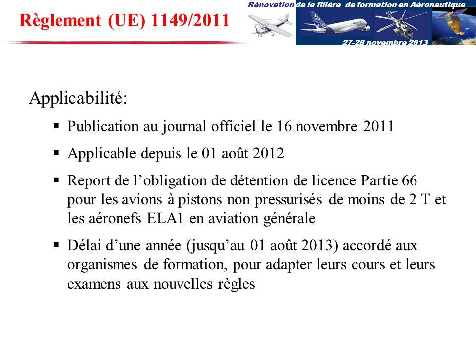 Rénovation de la filière de formation en Aéronautique 27-28 novembre 2013 Règlement (UE) 1149/2011 Applicabilité: Publication au journal officiel le 1