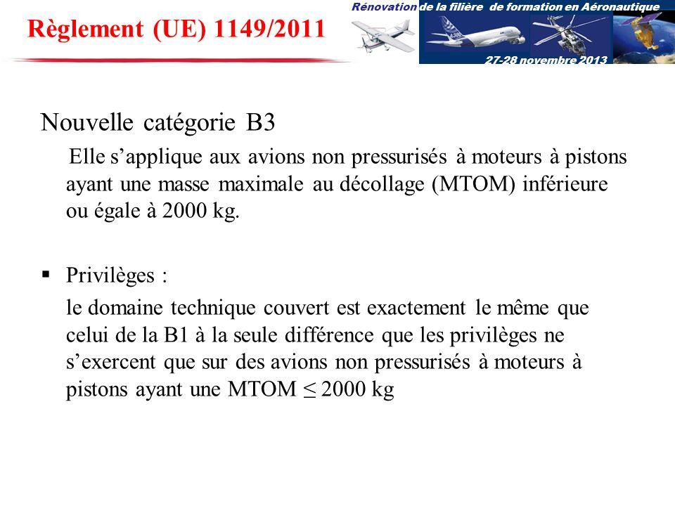 Rénovation de la filière de formation en Aéronautique 27-28 novembre 2013 Nouvelle catégorie B3 Elle sapplique aux avions non pressurisés à moteurs à