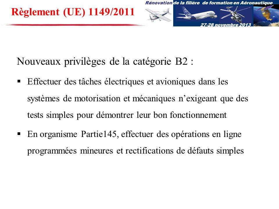 Rénovation de la filière de formation en Aéronautique 27-28 novembre 2013 Nouveaux privilèges de la catégorie B2 : Effectuer des tâches électriques et