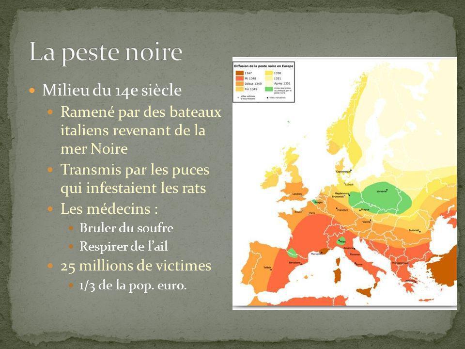 Milieu du 14e siècle Ramené par des bateaux italiens revenant de la mer Noire Transmis par les puces qui infestaient les rats Les médecins : Bruler du