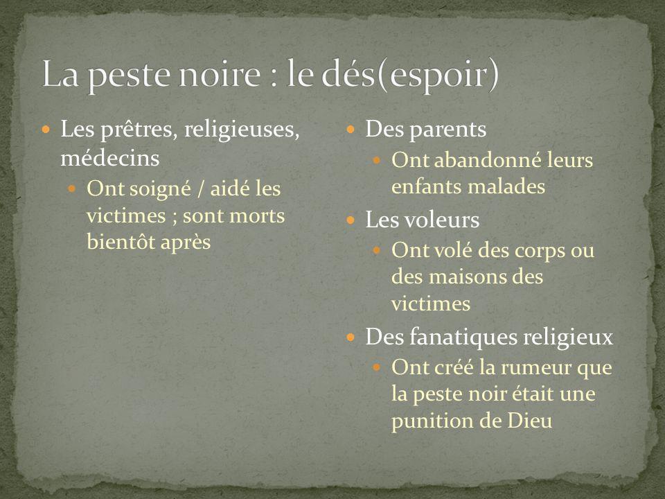 Les prêtres, religieuses, médecins Ont soigné / aidé les victimes ; sont morts bientôt après Des parents Ont abandonné leurs enfants malades Les voleu