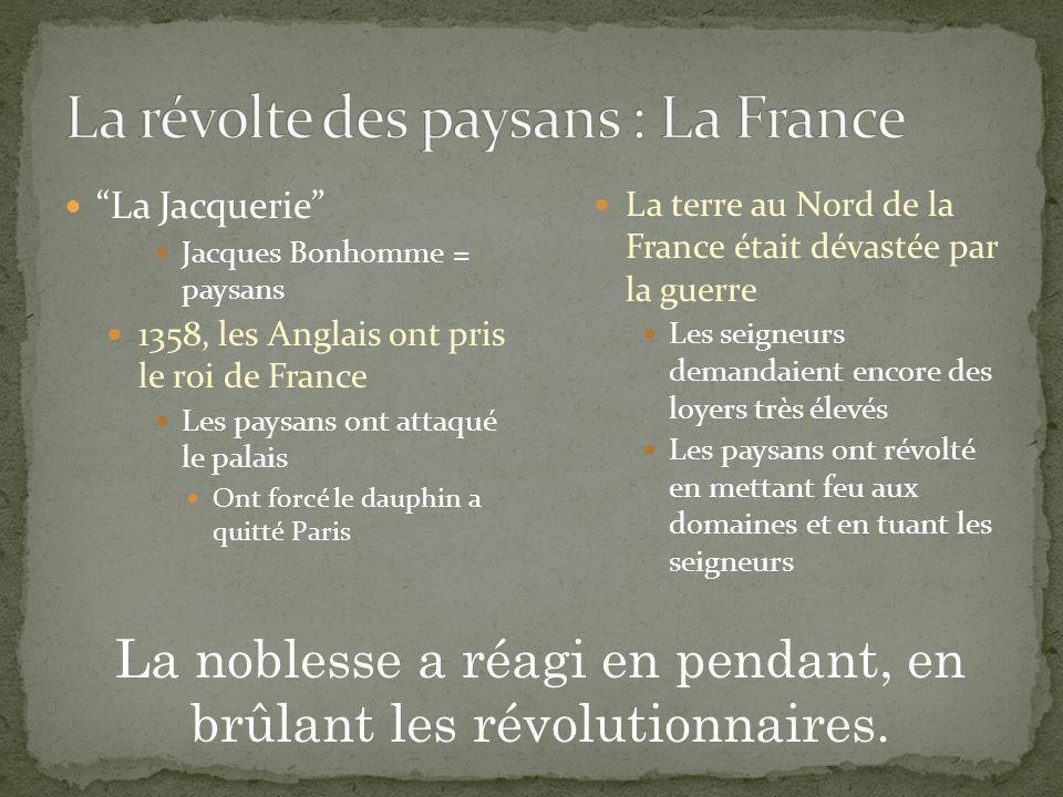 La Jacquerie Jacques Bonhomme = paysans 1358, les Anglais ont pris le roi de France Les paysans ont attaqué le palais Ont forcé le dauphin a quitté Pa