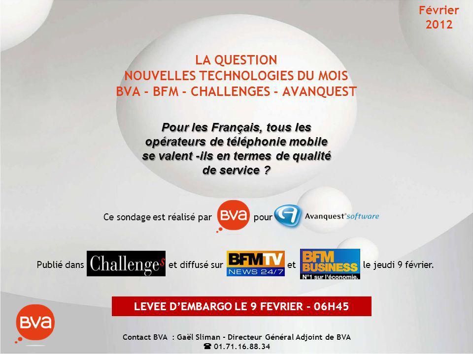 1 LA QUESTION NOUVELLES TECHNOLOGIES DU MOIS BVA - BFM - CHALLENGES - AVANQUEST Pour les Français, tous les opérateurs de téléphonie mobile se valent -ils en termes de qualité de service .
