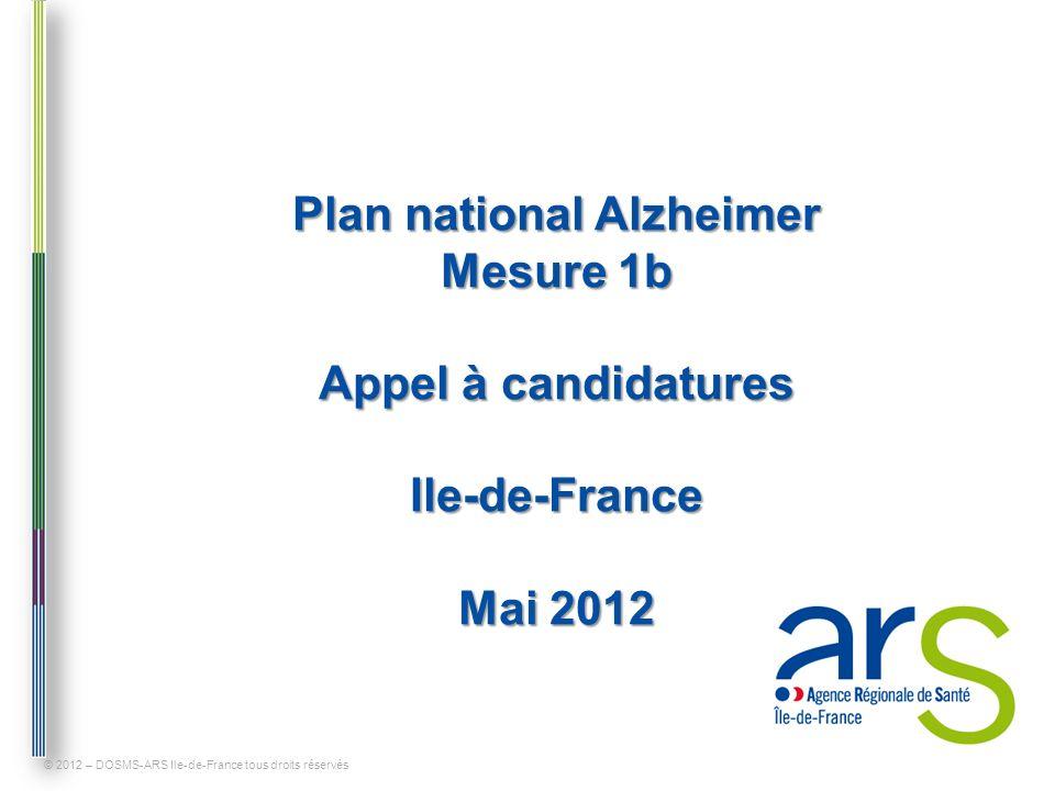 Plan national Alzheimer Mesure 1b Paris (75) © 2012 – DOSMS-ARS Ile-de-France tous droits réservés Zones déjà couvertes par une plateforme de répit Zones non couvertes pouvant faire lobjet dune ou plusieurs nouvelles plateformes