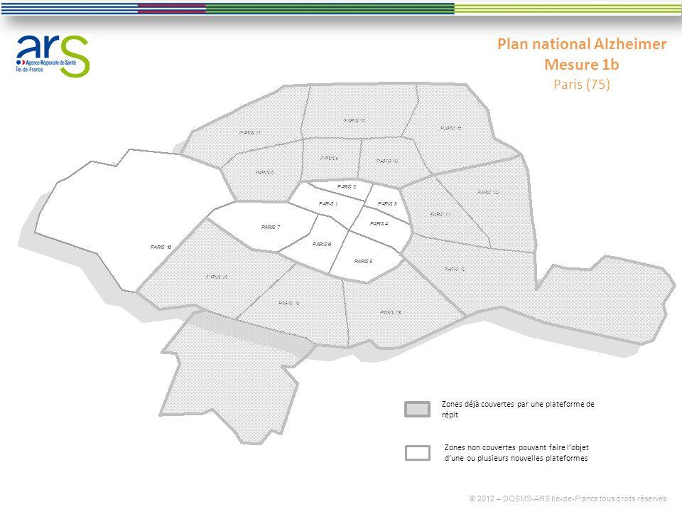 Plan national Alzheimer Mesure 1b Paris (75) © 2012 – DOSMS-ARS Ile-de-France tous droits réservés Zones déjà couvertes par une plateforme de répit Zo