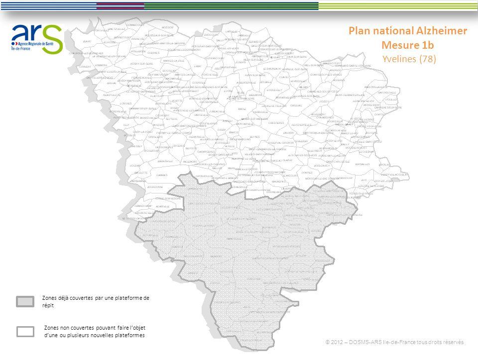 Plan national Alzheimer Mesure 1b Yvelines (78) © 2012 – DOSMS-ARS Ile-de-France tous droits réservés Zones déjà couvertes par une plateforme de répit Zones non couvertes pouvant faire lobjet dune ou plusieurs nouvelles plateformes