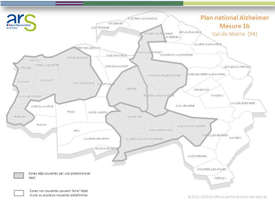 Plan national Alzheimer Mesure 1b Val-de-Marne (94) © 2012– DOSMS-ARS Ile-de-France tous droits réservés Zones déjà couvertes par une plateforme de répit Zones non couvertes pouvant faire lobjet dune ou plusieurs nouvelles plateformes