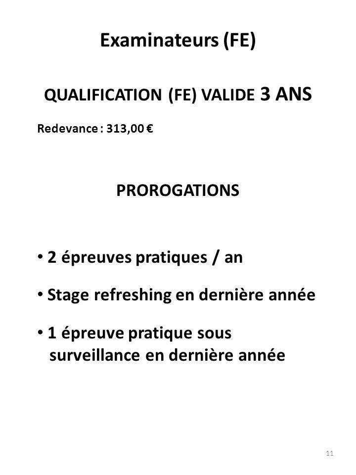 11 Examinateurs (FE) QUALIFICATION (FE) VALIDE 3 ANS Redevance : 313,00 PROROGATIONS 2 épreuves pratiques / an Stage refreshing en dernière année 1 ép