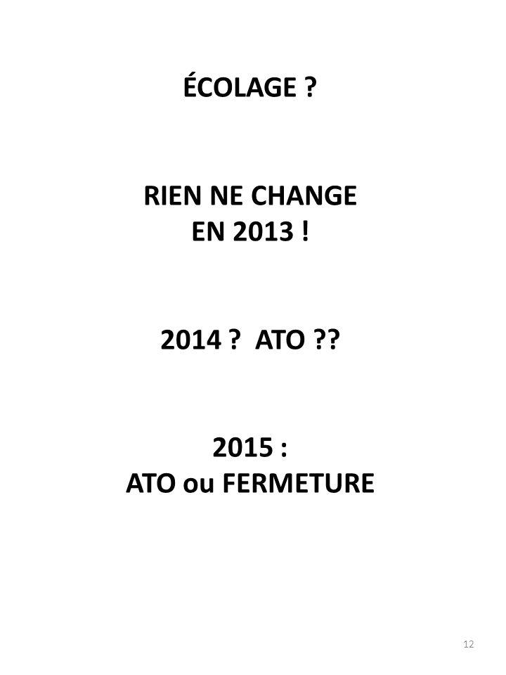 12 ÉCOLAGE ? RIEN NE CHANGE EN 2013 ! 2014 ? ATO ?? 2015 : ATO ou FERMETURE