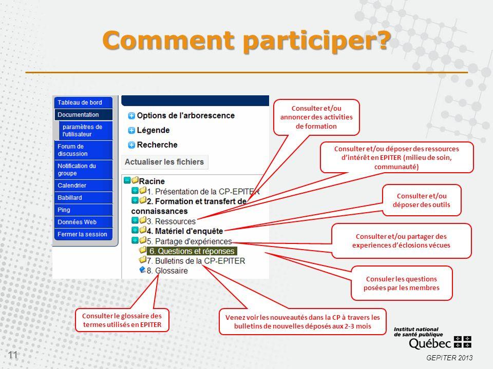 GEPITER 2013 11 Consuler les questions posées par les membres Venez voir les nouveautés dans la CP à travers les bulletins de nouvelles déposés aux 2-