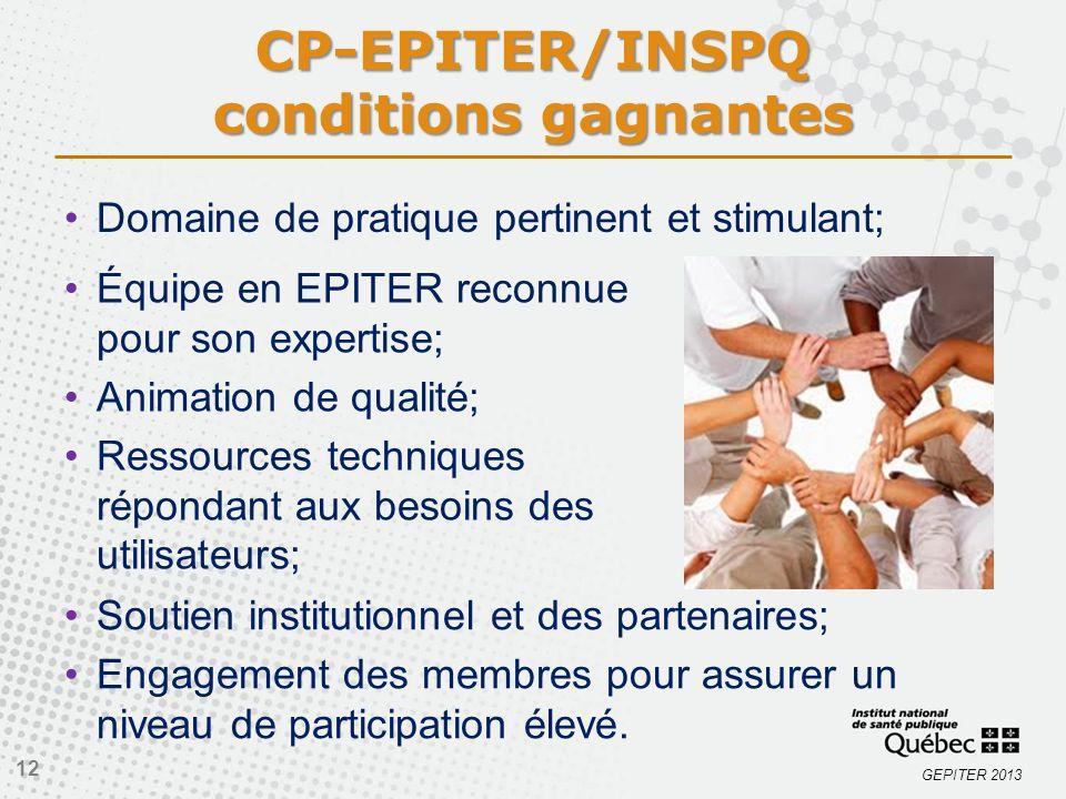 GEPITER 2013 CP-EPITER/INSPQ conditions gagnantes Domaine de pratique pertinent et stimulant; 12 Équipe en EPITER reconnue pour son expertise; Animati