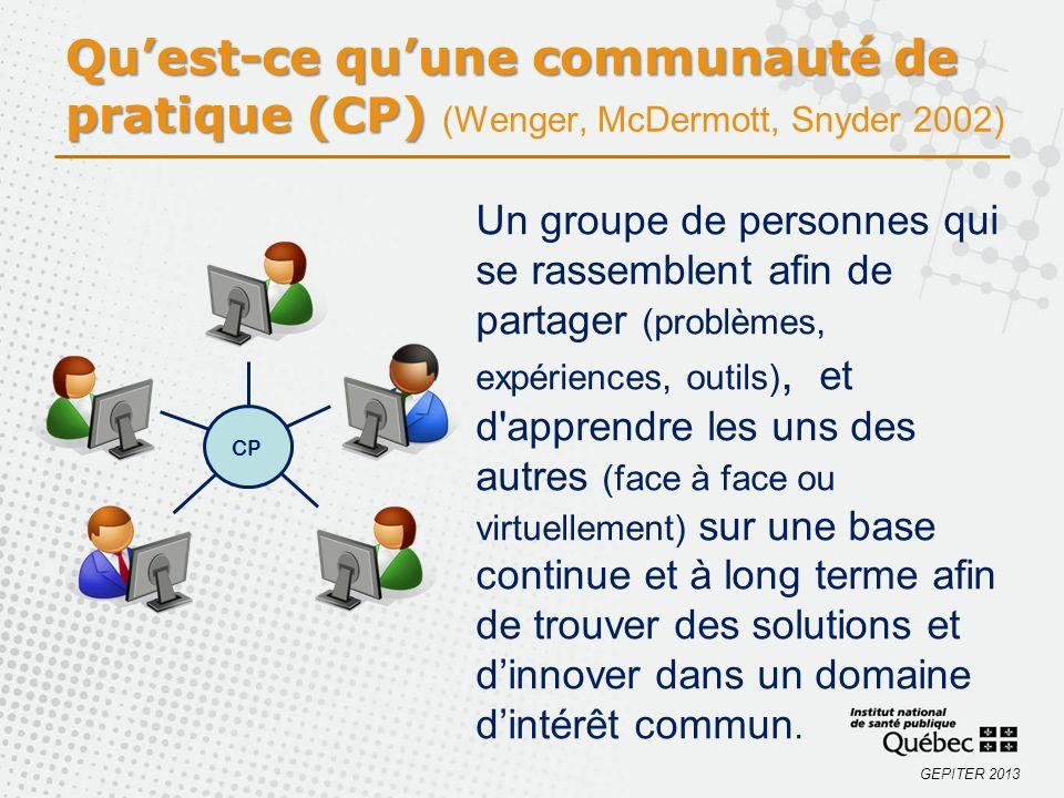 GEPITER 2013 Quest-ce quune communauté de pratique (CP) Quest-ce quune communauté de pratique (CP) (Wenger, McDermott, Snyder 2002) CP Un groupe de pe