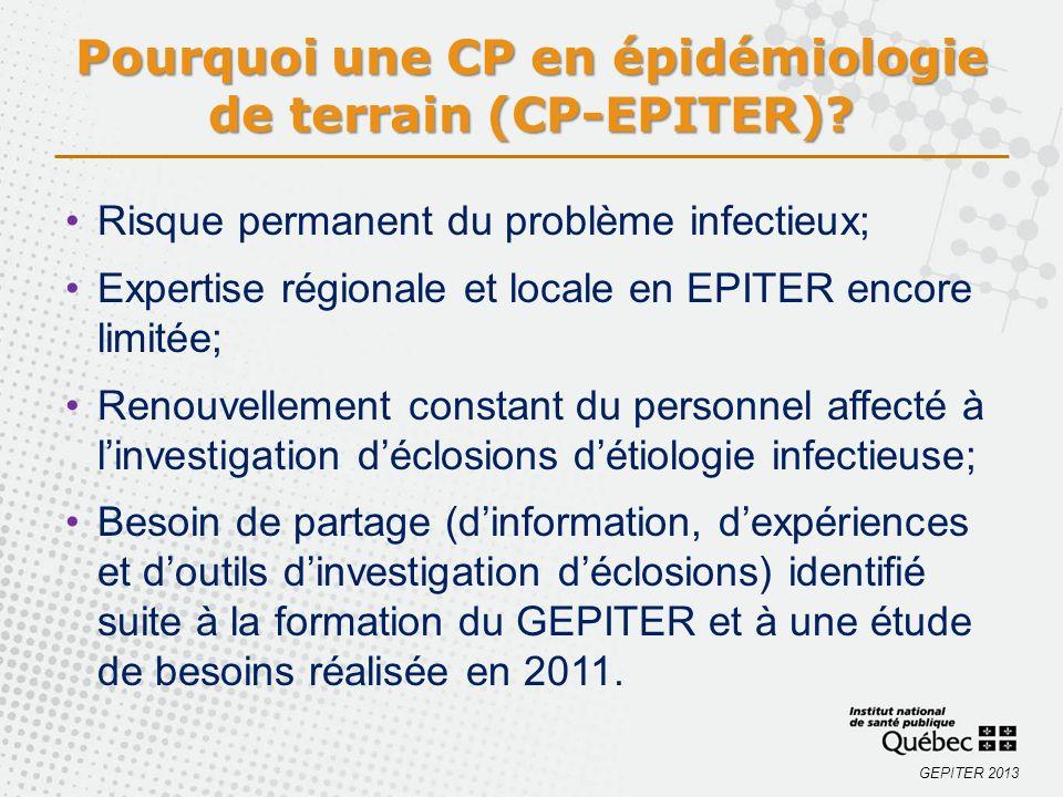 GEPITER 2013 Pourquoi une CP en épidémiologie de terrain (CP-EPITER)? Risque permanent du problème infectieux; Expertise régionale et locale en EPITER