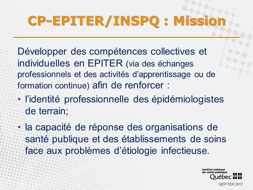 GEPITER 2013 Développer des compétences collectives et individuelles en EPITER (via des échanges professionnels et des activités dapprentissage ou de