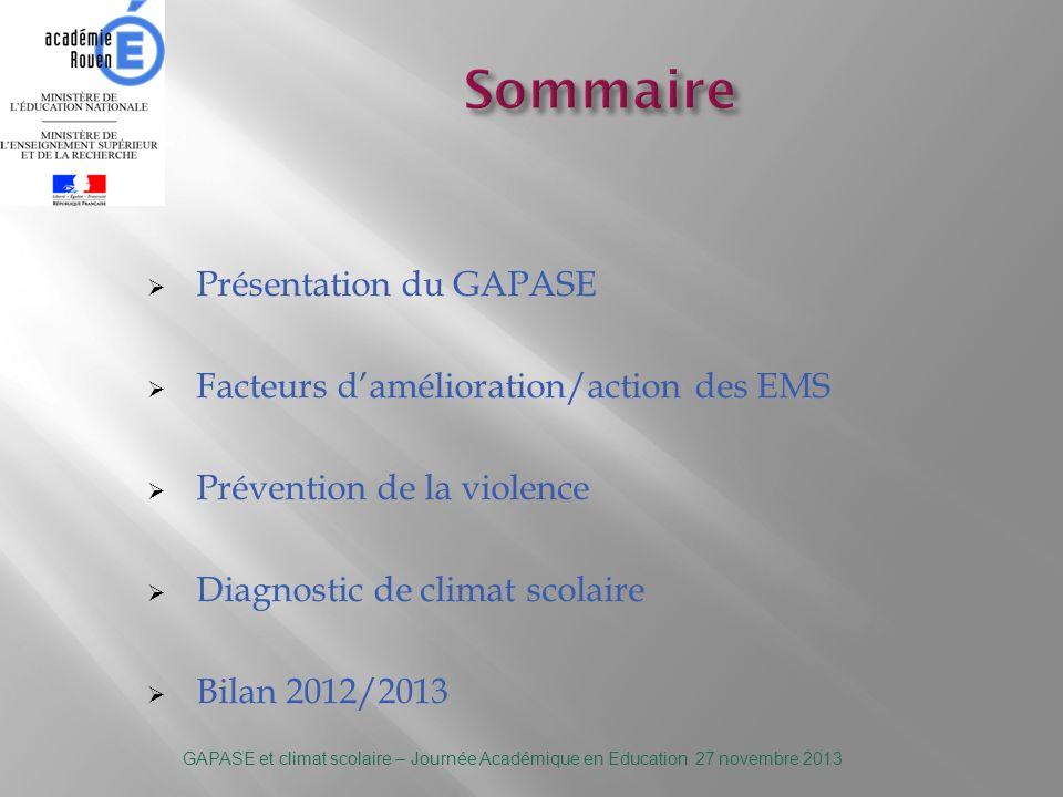 - Mis en place en janvier 2010 dans lacadémie de Rouen - Coordonné par le conseiller sécurité et composé de 15 agents E.M.S - GAPASE de Rouen - GAPASE du Havre - GAPASE dEvreux