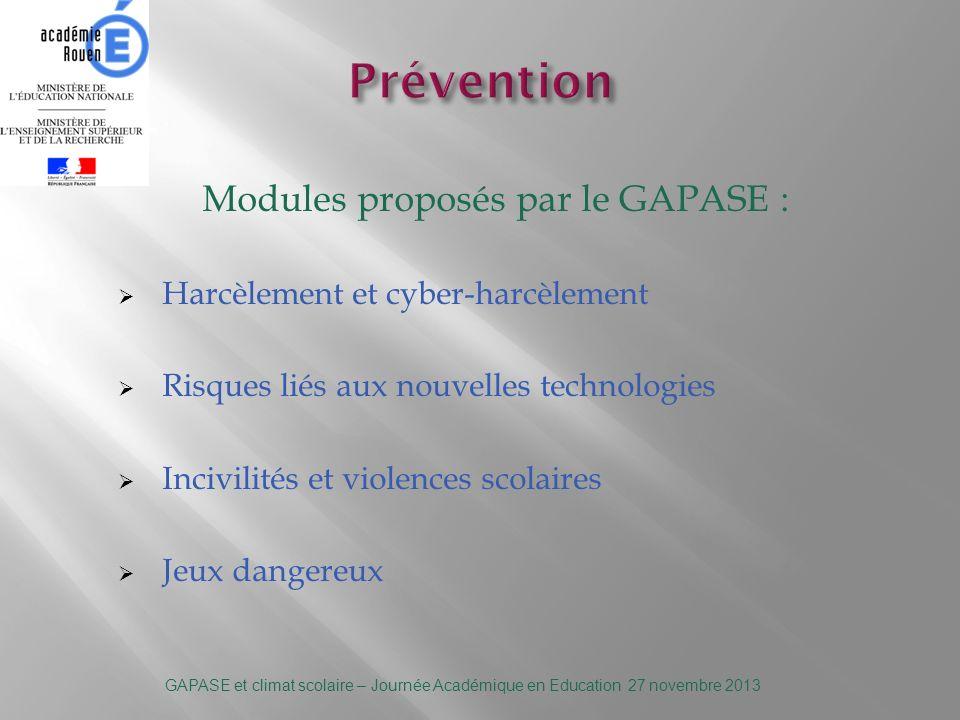 Pour demander la coopération dune équipe du GAPASE : -Conseiller sécurité auprès du Recteur : Tony Derebergue – Cabinet du Rectorat – 02.32.08.90.85 csr@ac-rouen.fr GAPASE et climat scolaire – Journée Académique en Education 27 novembre 2013