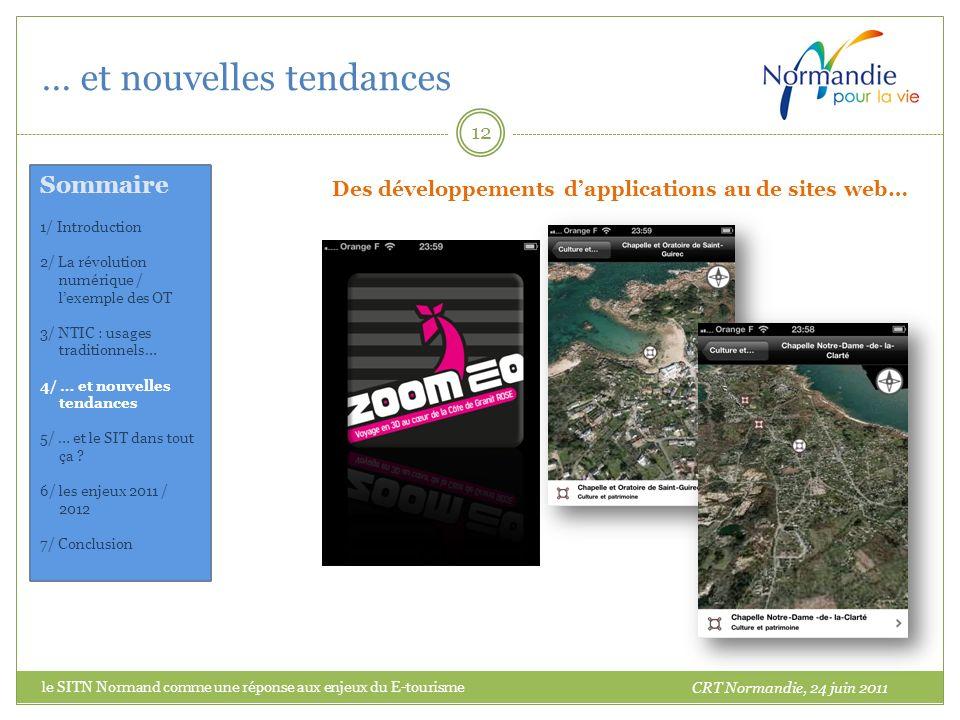 … et nouvelles tendances 12 Des développements dapplications au de sites web… CRT Normandie, 24 juin 2011 Sommaire 1/ Introduction 2/ La révolution nu
