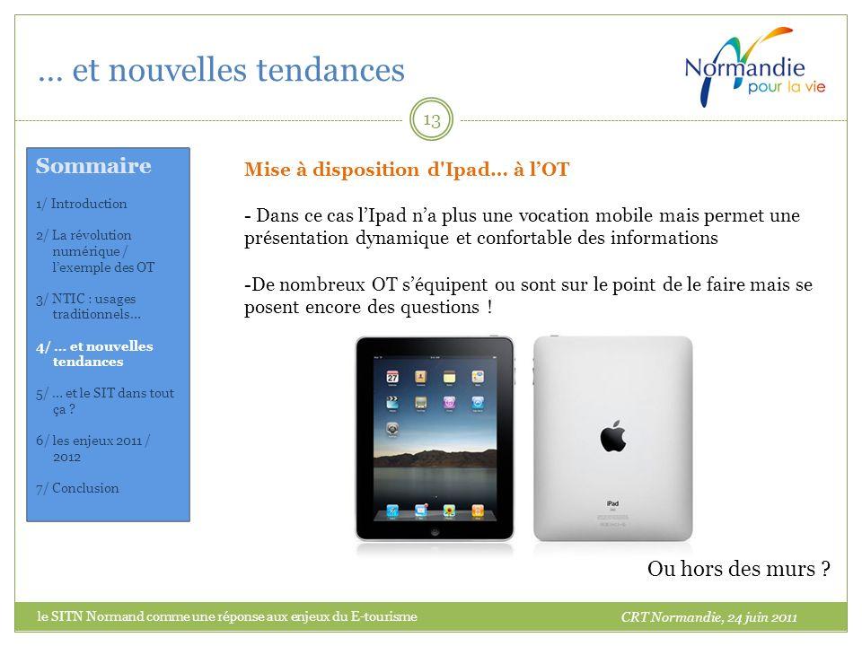 … et nouvelles tendances 13 Mise à disposition d'Ipad… à lOT - Dans ce cas lIpad na plus une vocation mobile mais permet une présentation dynamique et
