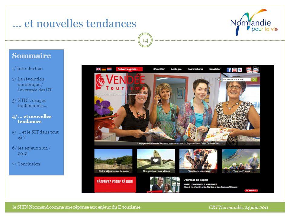 … et nouvelles tendances 14 CRT Normandie, 24 juin 2011 Sommaire 1/ Introduction 2/ La révolution numérique / lexemple des OT 3/ NTIC : usages traditi