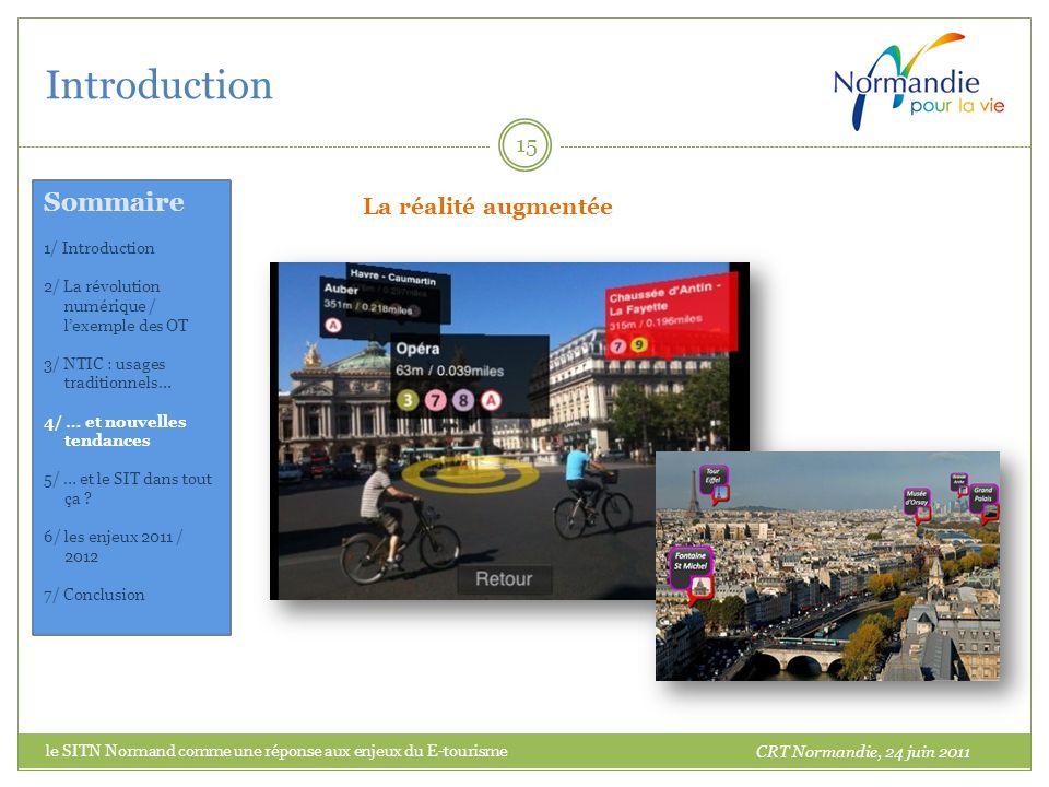 Introduction 15 La réalité augmentée CRT Normandie, 24 juin 2011 Sommaire 1/ Introduction 2/ La révolution numérique / lexemple des OT 3/ NTIC : usage