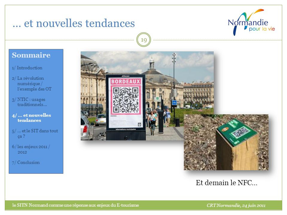 … et nouvelles tendances 19 Les codes 2D CRT Normandie, 24 juin 2011 Et demain le NFC… Sommaire 1/ Introduction 2/ La révolution numérique / lexemple