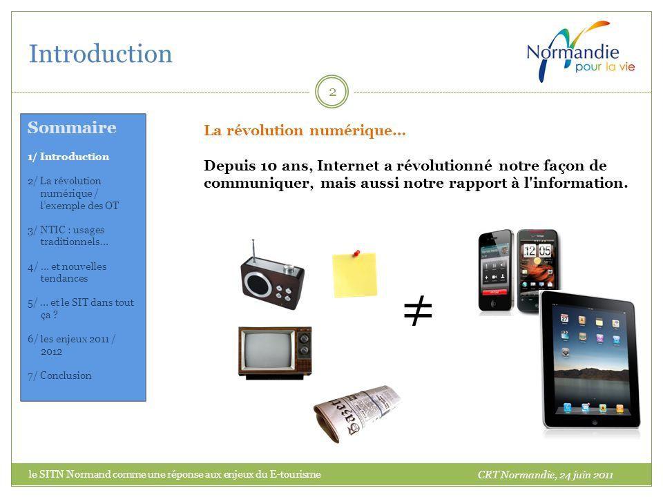 Introduction le SITN Normand comme une réponse aux enjeux du E-tourisme 2 La révolution numérique… Depuis 10 ans, Internet a révolutionné notre façon de communiquer, mais aussi notre rapport à l information.