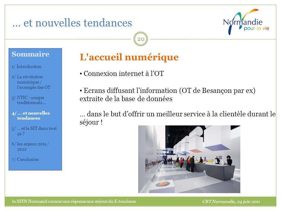 … et nouvelles tendances 20 L'accueil numérique Connexion internet à lOT Ecrans diffusant linformation (OT de Besançon par ex) extraite de la base de