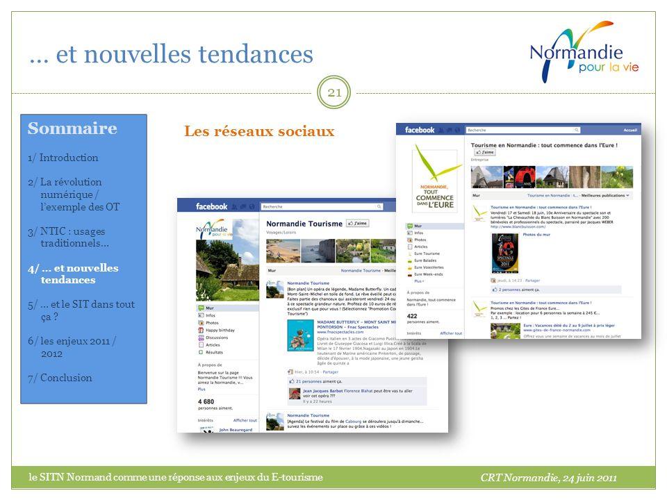 … et nouvelles tendances 21 Les réseaux sociaux CRT Normandie, 24 juin 2011 Sommaire 1/ Introduction 2/ La révolution numérique / lexemple des OT 3/ NTIC : usages traditionnels… 4/ … et nouvelles tendances 5/ … et le SIT dans tout ça .