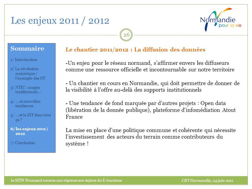 Les enjeux 2011 / 2012 26 Le chantier 2011/2012 : La diffusion des données -Un enjeu pour le réseau normand, saffirmer envers les diffuseurs comme une