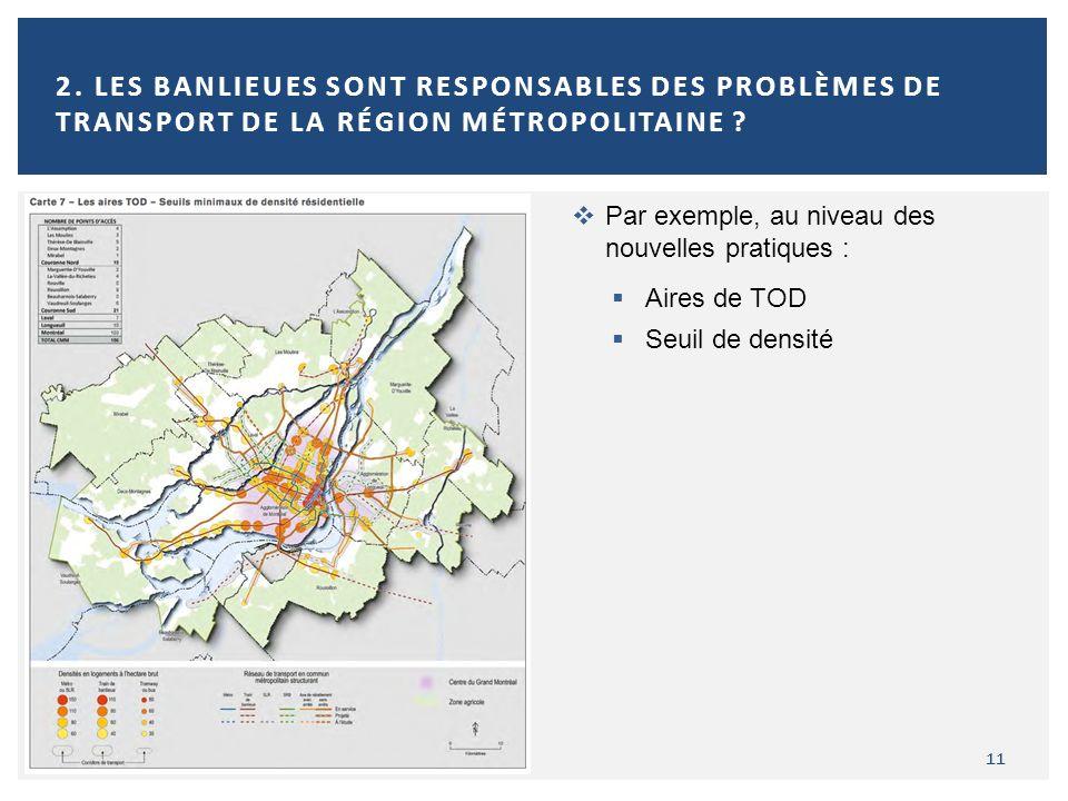 11 2. LES BANLIEUES SONT RESPONSABLES DES PROBLÈMES DE TRANSPORT DE LA RÉGION MÉTROPOLITAINE ? Par exemple, au niveau des nouvelles pratiques : Aires