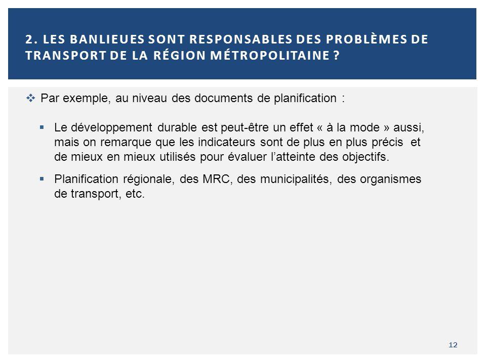 12 2. LES BANLIEUES SONT RESPONSABLES DES PROBLÈMES DE TRANSPORT DE LA RÉGION MÉTROPOLITAINE ? Par exemple, au niveau des documents de planification :