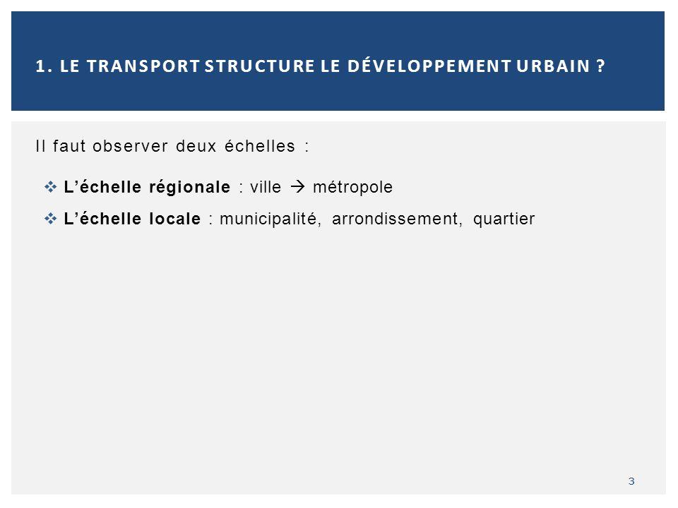 Il faut observer deux échelles : Léchelle régionale : ville métropole Léchelle locale : municipalité, arrondissement, quartier 3 1. LE TRANSPORT STRUC