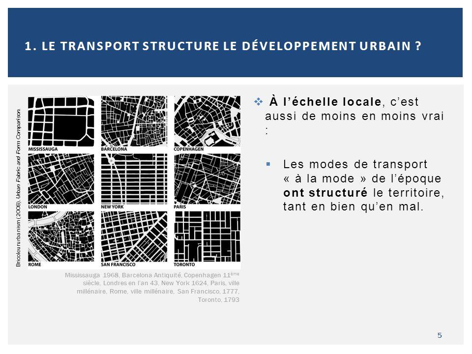 À léchelle locale, cest aussi de moins en moins vrai : Les modes de transport « à la mode » de lépoque ont structuré le territoire, tant en bien quen