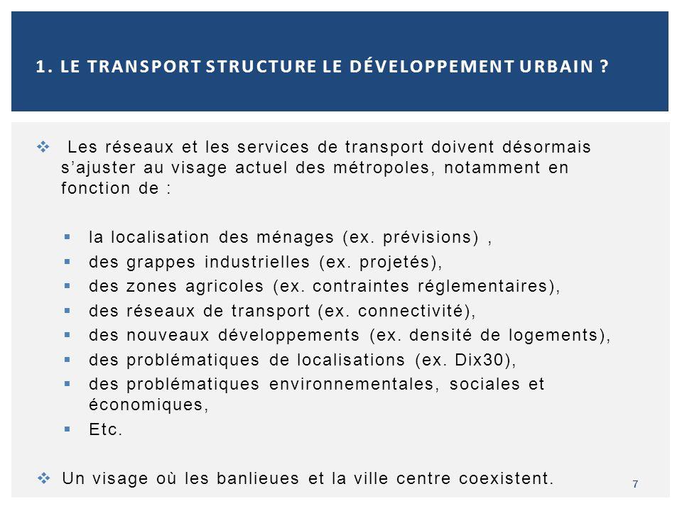 Les réseaux et les services de transport doivent désormais sajuster au visage actuel des métropoles, notamment en fonction de : la localisation des mé