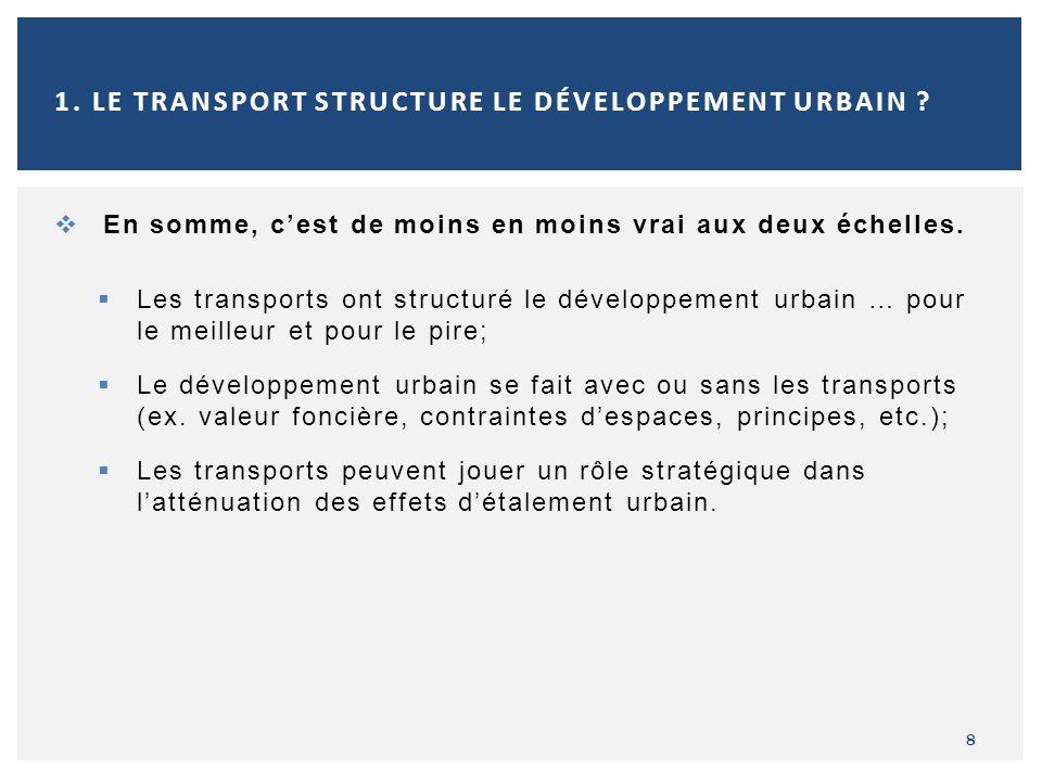 En somme, cest de moins en moins vrai aux deux échelles. Les transports ont structuré le développement urbain … pour le meilleur et pour le pire; Le d
