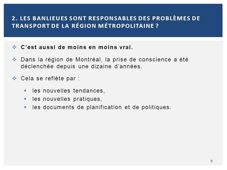 10 2.LES BANLIEUES SONT RESPONSABLES DES PROBLÈMES DE TRANSPORT DE LA RÉGION MÉTROPOLITAINE .