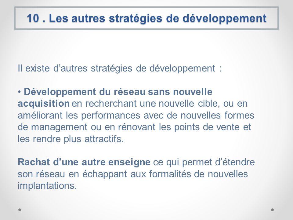 10. Les autres stratégies de développement Il existe dautres stratégies de développement : Développement du réseau sans nouvelle acquisition en recher