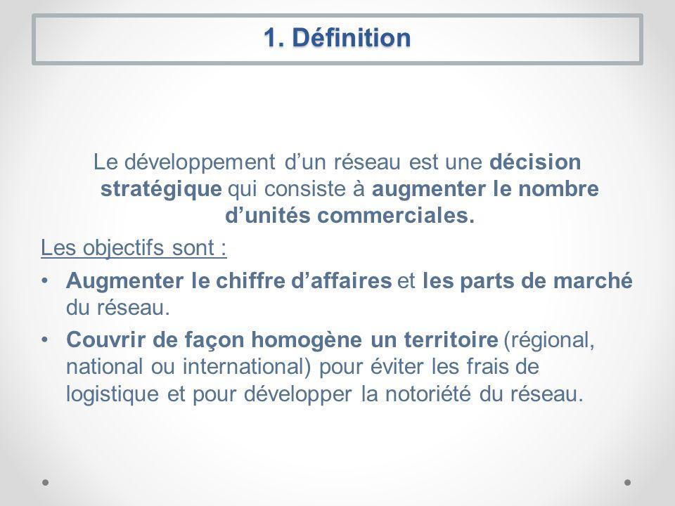 1. Définition Le développement dun réseau est une décision stratégique qui consiste à augmenter le nombre dunités commerciales. Les objectifs sont : A