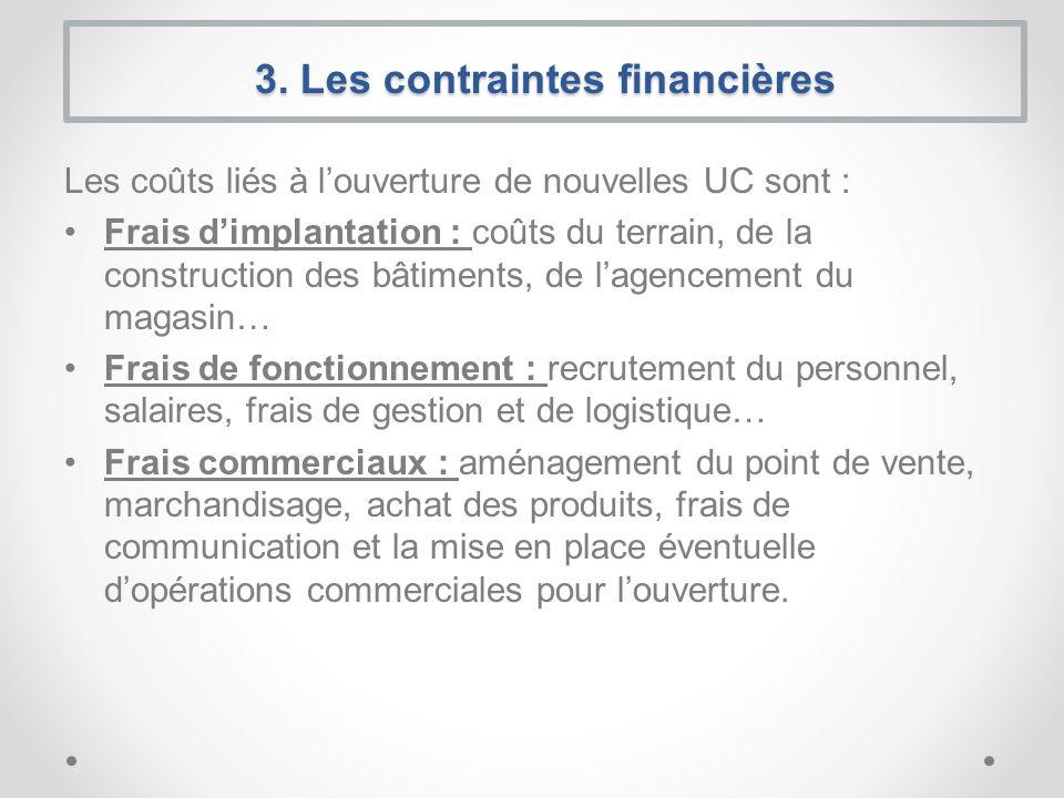 Les coûts liés à louverture de nouvelles UC sont : Frais dimplantation : coûts du terrain, de la construction des bâtiments, de lagencement du magasin