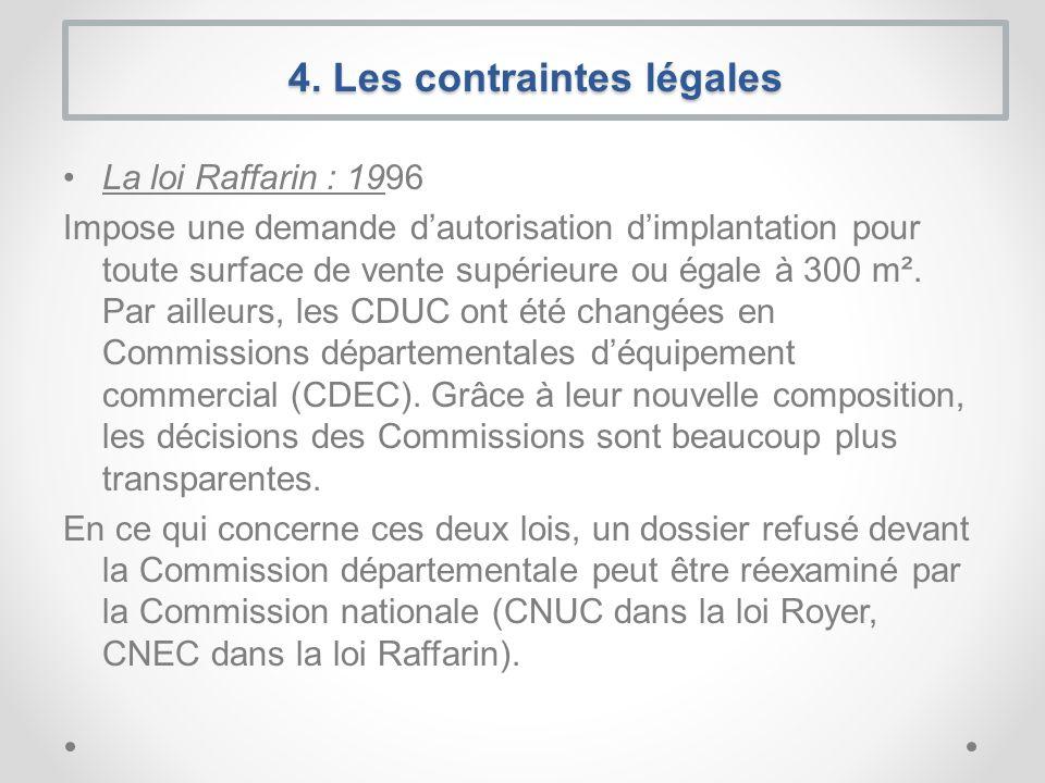 La loi Raffarin : 1996 Impose une demande dautorisation dimplantation pour toute surface de vente supérieure ou égale à 300 m². Par ailleurs, les CDUC