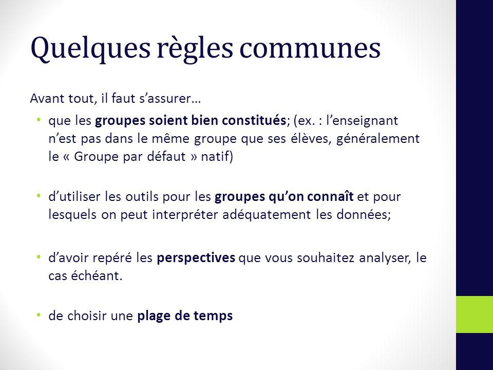 Quelques règles communes Avant tout, il faut sassurer… que les groupes soient bien constitués; (ex.