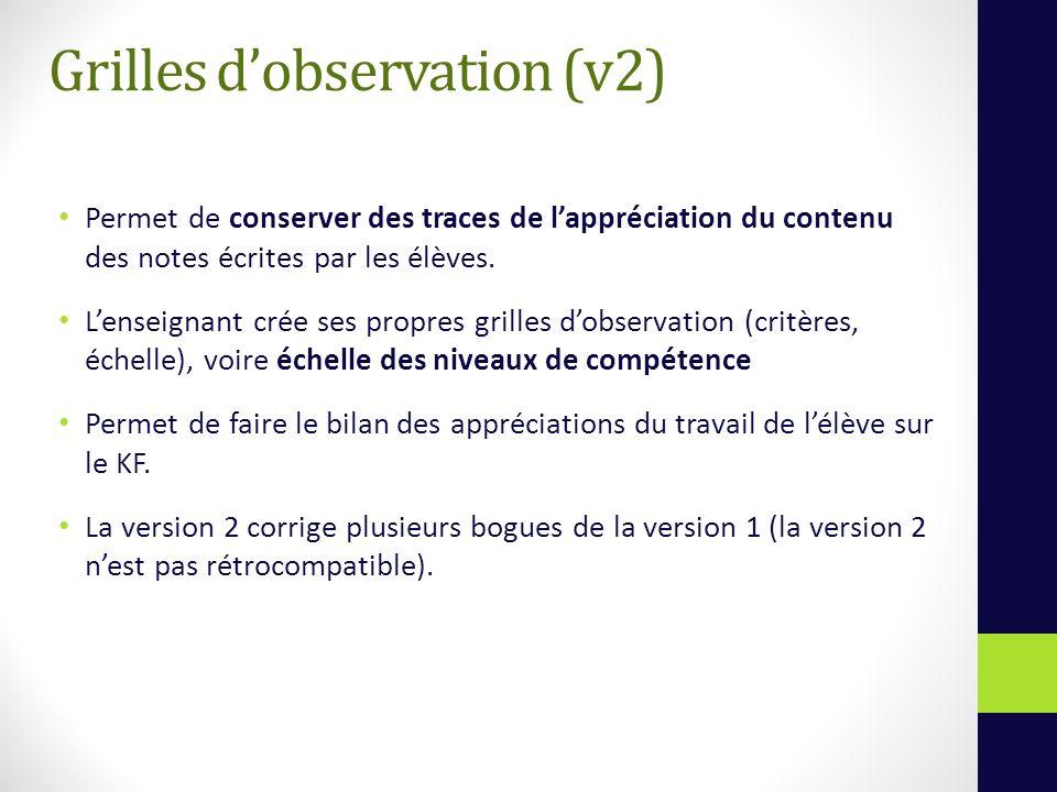 Grilles dobservation (v2) Permet de conserver des traces de lappréciation du contenu des notes écrites par les élèves.