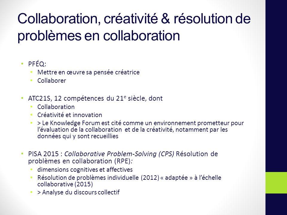 Collaboration, créativité & résolution de problèmes en collaboration PFÉQ: Mettre en œuvre sa pensée créatrice Collaborer ATC21S, 12 compétences du 21 e siècle, dont Collaboration Créativité et innovation > Le Knowledge Forum est cité comme un environnement prometteur pour lévaluation de la collaboration et de la créativité, notamment par les données qui y sont recueillies PISA 2015 : Collaborative Problem-Solving (CPS) Résolution de problèmes en collaboration (RPE): dimensions cognitives et affectives Résolution de problèmes individuelle (2012) « adaptée » à léchelle collaborative (2015) > Analyse du discours collectif
