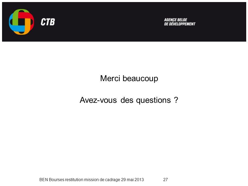 BEN Bourses restitution mission de cadrage 29 mai 201327 Merci beaucoup Avez-vous des questions ?
